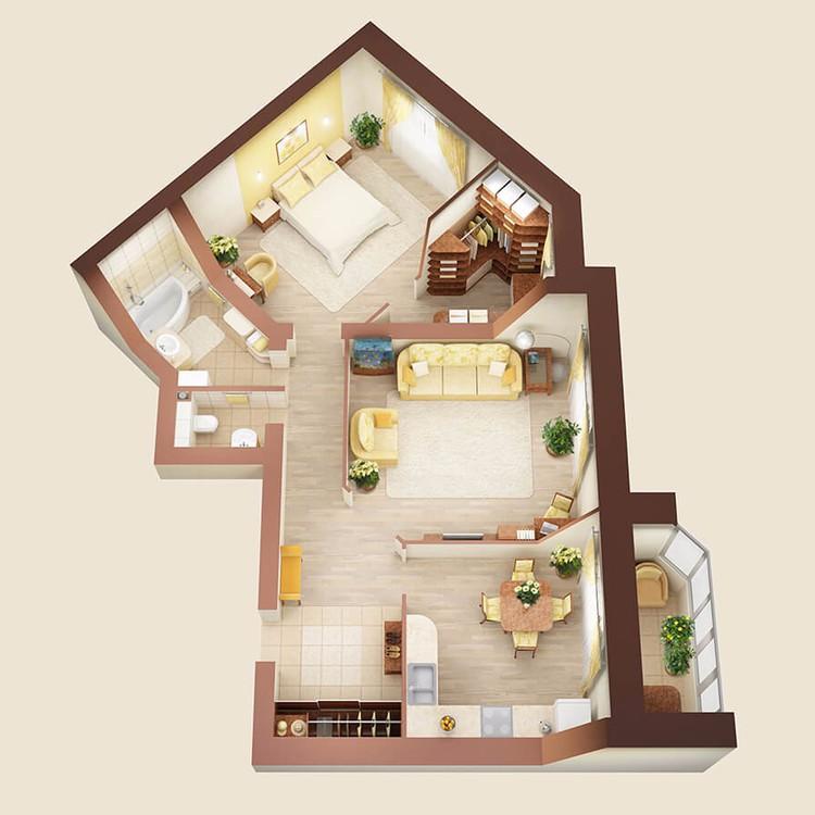 Интерьер 2-х комнатной квартиры, дом №7, 82 м2