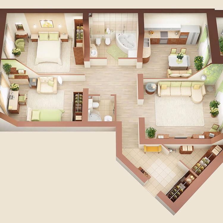 Интерьер 3-х комнатной квартиры, дом №7, 113 м2
