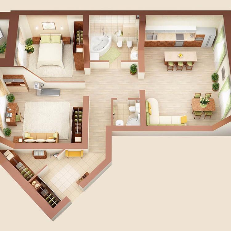 Интерьер 3-х комнатной квартиры-студии , дом №7, 113 м2