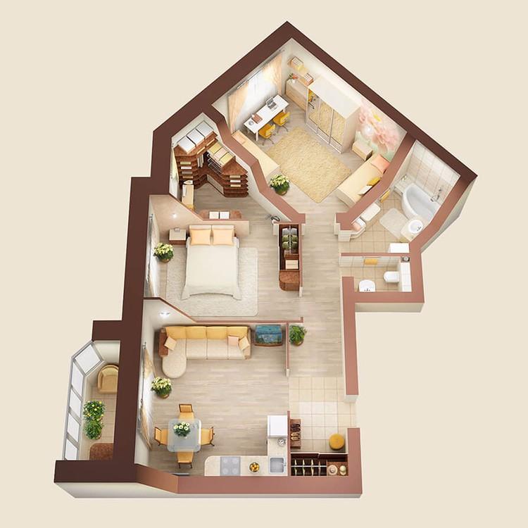 Интерьер 3-х комнатной квартиры-студии, дом №7, 82 м2